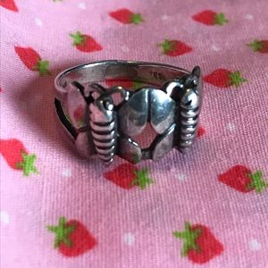Vintage Sterling Silver Double Butterfly Ring